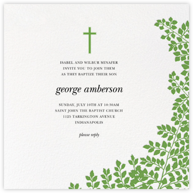Fern II - Green - Paperless Post - Christening Invitations