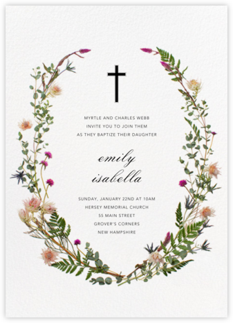 Fleurs Sauvages - Paperless Post - Baptism invitations