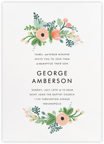 Wrapped in Wildflowers - Rifle Paper Co. - Christening Invitations