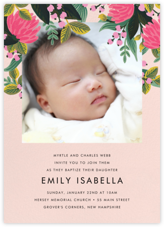 Saigon Blooms (Photo) - Meringue - Rifle Paper Co. - Christening Invitations