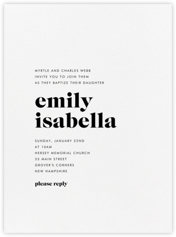 Principle - Black - Vera Wang - Baptism invitations