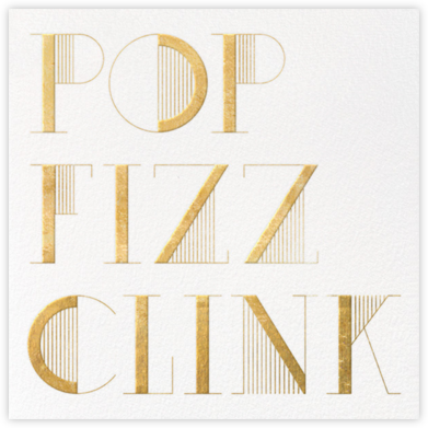 Pop Fizz Clink (Square) - White/Gold  - kate spade new york - Kate Spade invitations, save the dates, and cards