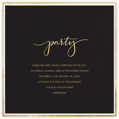 Fine Band Party - Black - Sugar Paper - Invitations