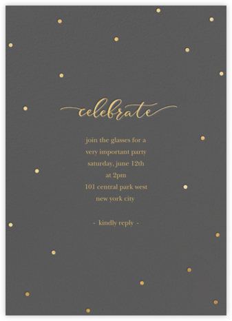 Celebration Dots - Charcoal/Gold - Sugar Paper - Dinner Party Invitations