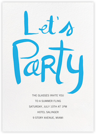 Let's Party - Blue - Linda and Harriett - Linda & Harriett cards and invitations