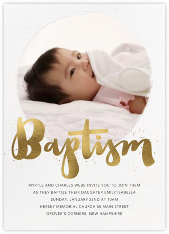Brushstroke Baptism - Paperless Post - Christening Invitations