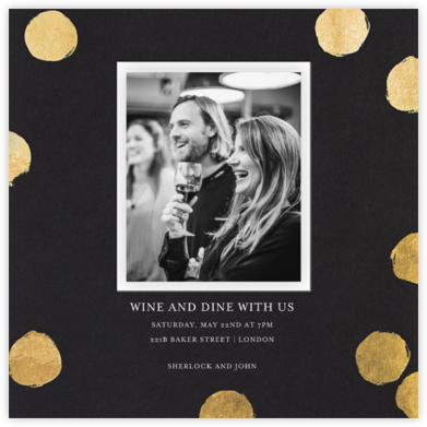 Reese (Photo) - Black/Gold - Sugar Paper - General Entertaining Invitations
