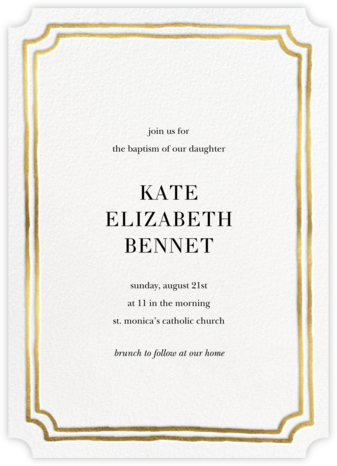 Roosevelt - Gold - Sugar Paper - Christening Invitations