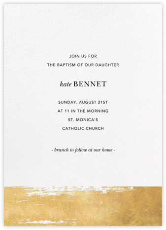 Simple Brushstroke - Sugar Paper - Christening Invitations