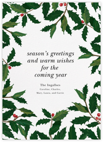 English Holly (Border) - Paperless Post - Christmas cards