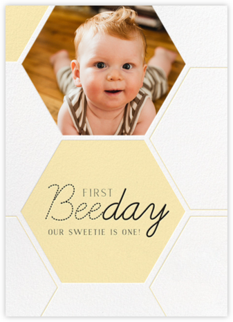 Beeday Sweetie - Paper + Cup - First birthday and baby birthday invitations