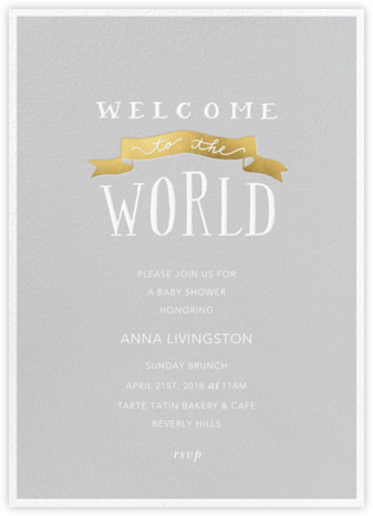 Banner Welcome - Winter Gray - Sugar Paper - Baby Shower Invitations