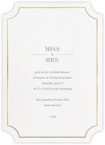 Gilt Ticket - Sugar Paper - Bridal shower invitations