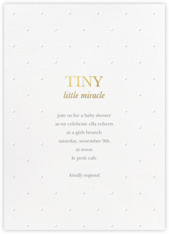 Little Miracle - White - Sugar Paper - Baby Shower Invitations