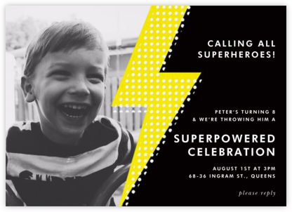 Pop Bolt Photo - Black  - Paper + Cup - Kids' birthday invitations