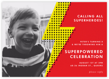 Pop Bolt Photo - Red - Paper + Cup - Kids' birthday invitations