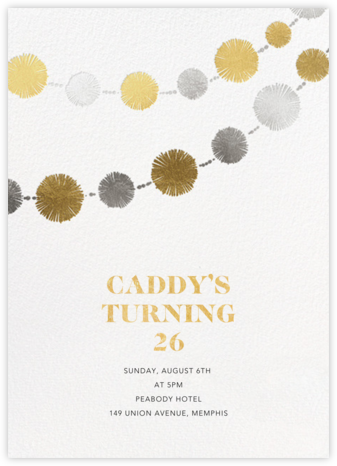 Pom Bunting - Paperless Post - Adult birthday invitations