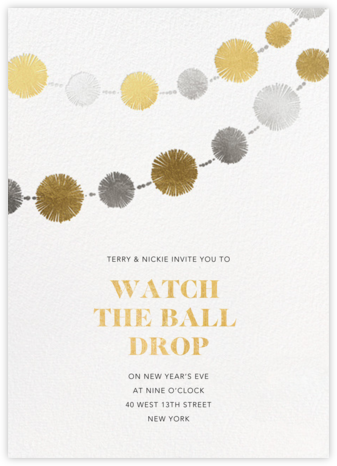 Pom Bunting - Paperless Post - New Year's Eve Invitations