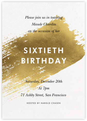 Impasto - Gold - Paperless Post - Adult Birthday Invitations