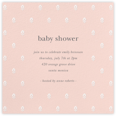 Embroidered Blossom - Meringue - Sugar Paper - Baby Shower Invitations