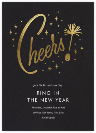Googie Garnish - Black - Paperless Post - New Year's Eve Invitations