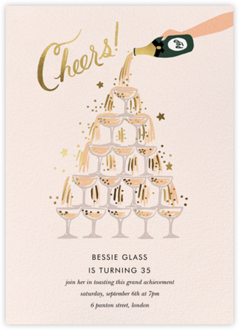 Champagne Tower - Rifle Paper Co. - Milestone birthday invitations