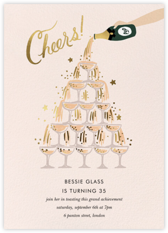 Champagne Tower - Fair - Rifle Paper Co. - Milestone Birthday Invitations