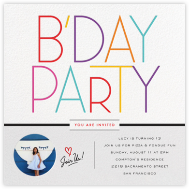 B'Day Type - bluepoolroad - bluepoolroad invitations and cards