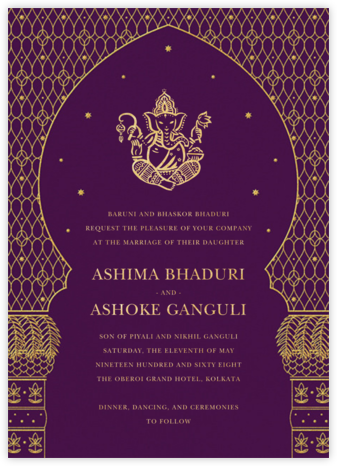 Vinayanka (Invitation) - Purple - Paperless Post - Wedding Invitations