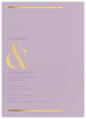 Walker (Invitation) - Lilac - Paperless Post - Wedding Invitations