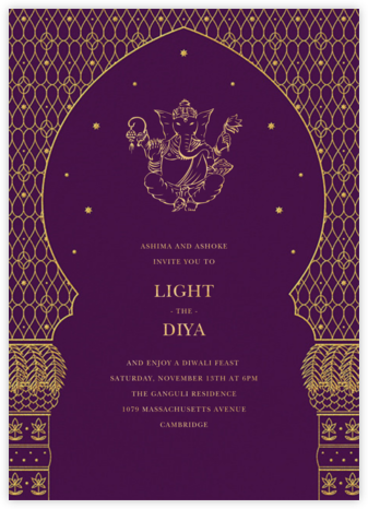Vinayanka - Purple - Paperless Post - Diwali invitations