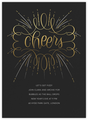 Curlicue Cheers - Caviar - Paperless Post - New Year's Eve Invitations