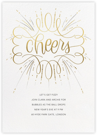Curlicue Cheers - Pearl White - Paperless Post - New Year's Eve Invitations