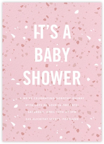 Terrazzo - Pink - Paperless Post - Baby Shower Invitations