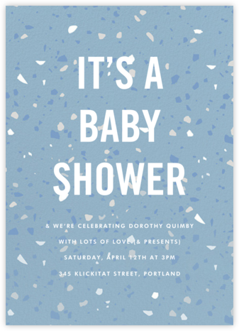 Terrazzo - Blue - Paperless Post - Baby Shower Invitations
