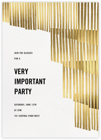 Swaying Fringe - Gold - Paperless Post - Dinner Party Invitations