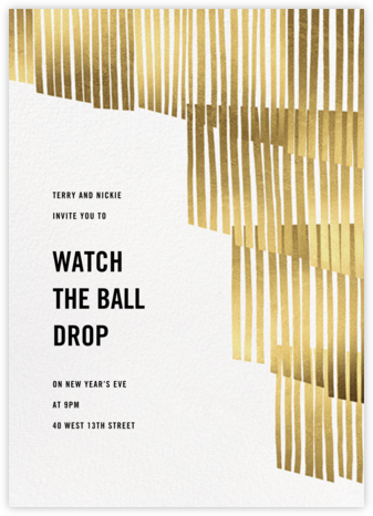 Swaying Fringe - Gold - Paperless Post - New Year's Eve Invitations