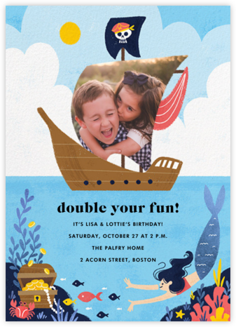 Buccaneers and Beauties - Light - Paperless Post - Online Kids' Birthday Invitations