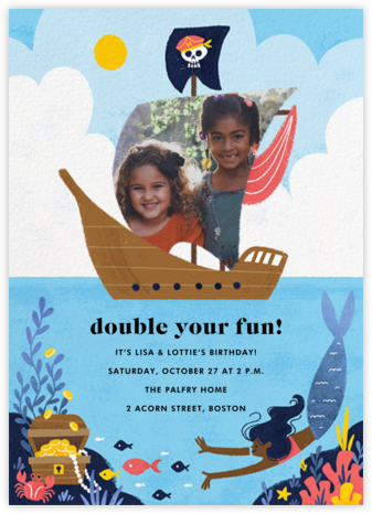 Buccaneers and Beauties - Dark - Paperless Post - Online Kids' Birthday Invitations