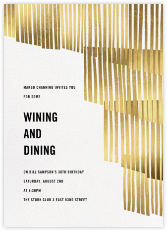 Swaying Fringe - Gold - Paperless Post - Adult Birthday Invitations