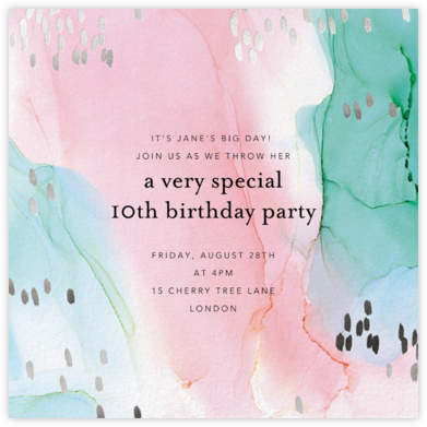 Shimmering Swirls - Ashley G - Online Kids' Birthday Invitations