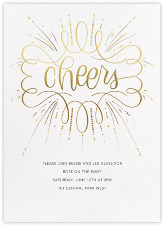 Curlicue Cheers - Pearl White - Paperless Post - General Entertaining Invitations
