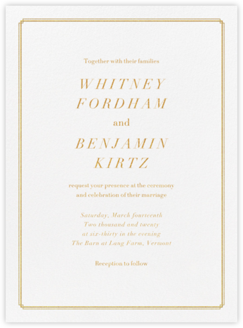Notch - Gold - Vera Wang - Classic wedding invitations