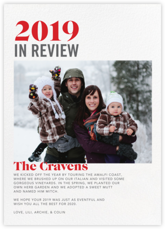 In Review - White - Paperless Post - Holiday photo cards