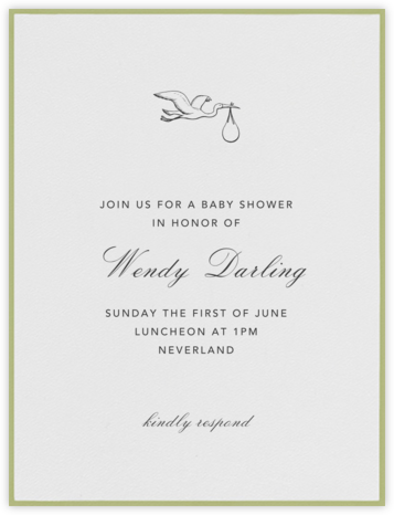 Marylebone Nursery - Celery - Paperless Post - Baby Shower Invitations