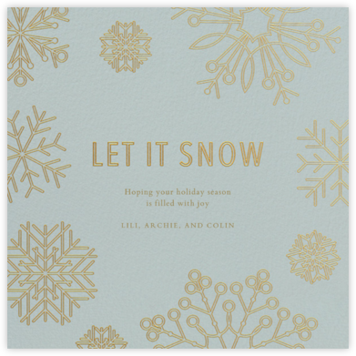 Etched Snowflakes - Blue - Paperless Post - Holiday Cards