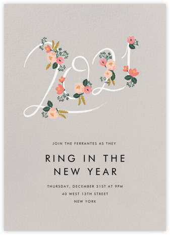 Botanic Year (Tall) - Oyster - Rifle Paper Co. - New Year's Eve Invitations