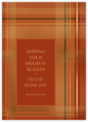 Sparkling Tartan - Red - Paperless Post - Christmas cards