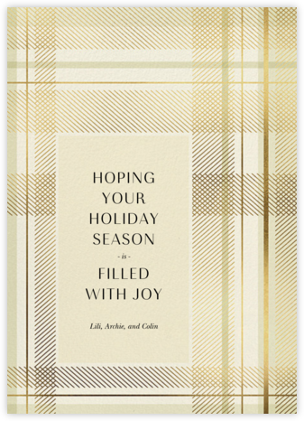 Sparkling Tartan - Cream - Paperless Post - Holiday Cards