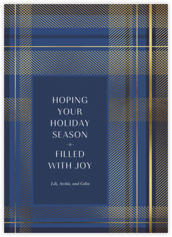 Sparkling Tartan - Blue - Paperless Post - Holiday cards